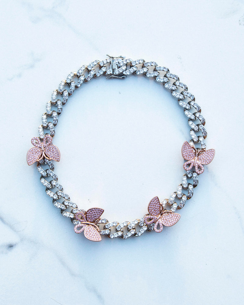 Pink Butterfly Choker - White Gold