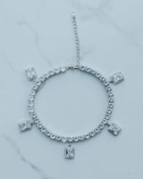 "9"" Tennis Baguette Anklet - White Gold"
