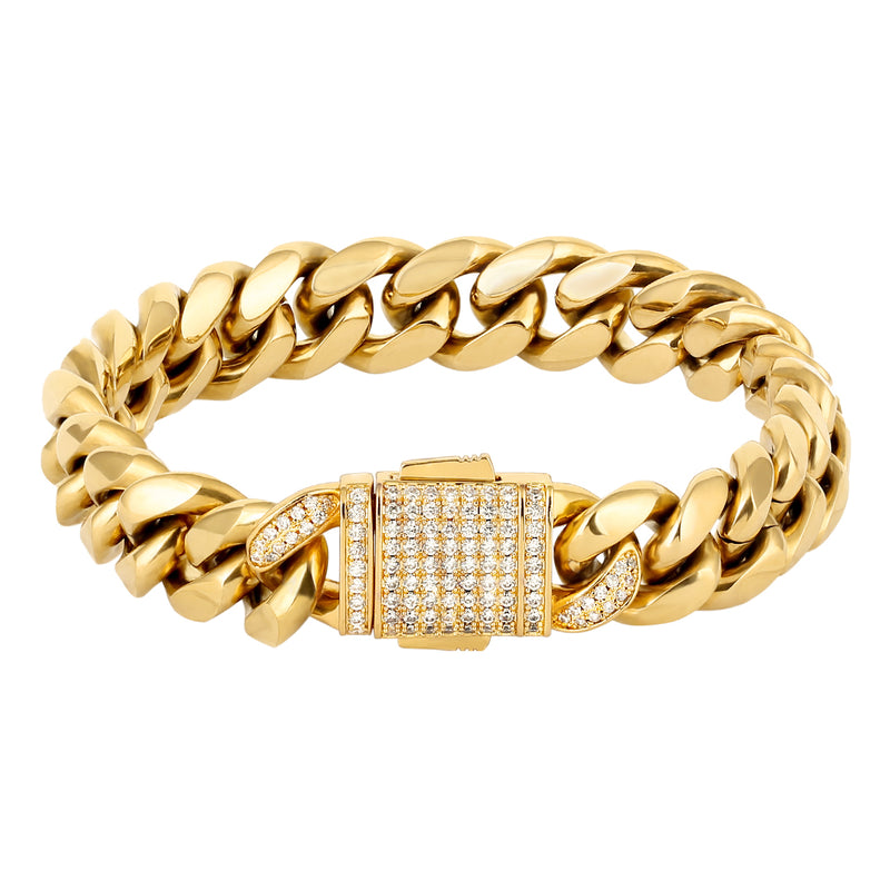12mm Iced Clasp Bracelet - Gold