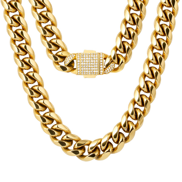 12mm Iced Clasp Cuban Chain - Gold