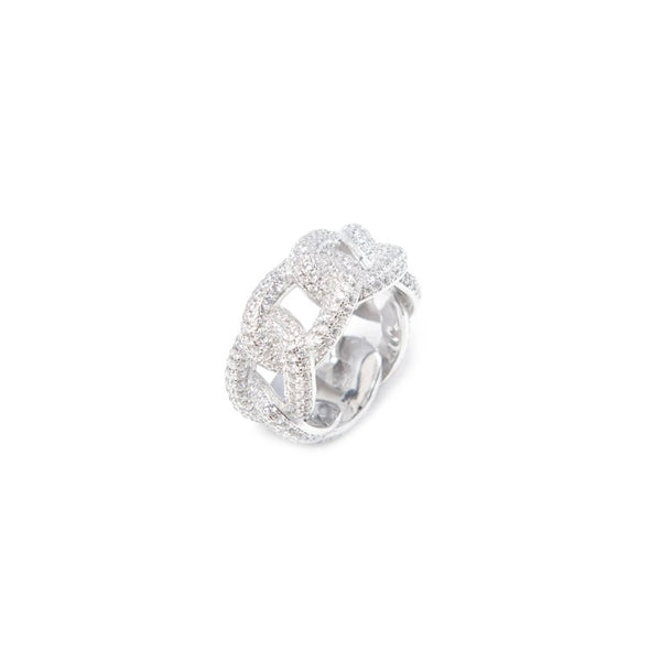 White Gold Iced Cuban Ring