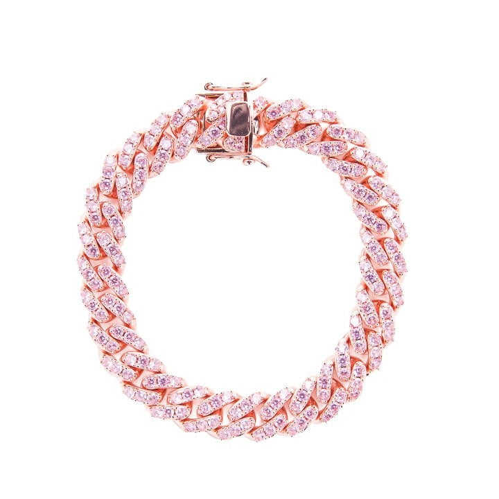 10.5mm Iced Pink Cuban Bracelet - Rose Gold