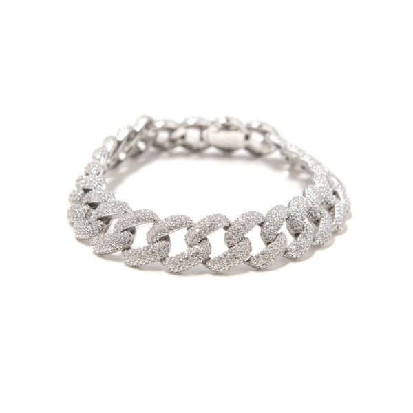 12mm Cuban Link Anklet - White Gold