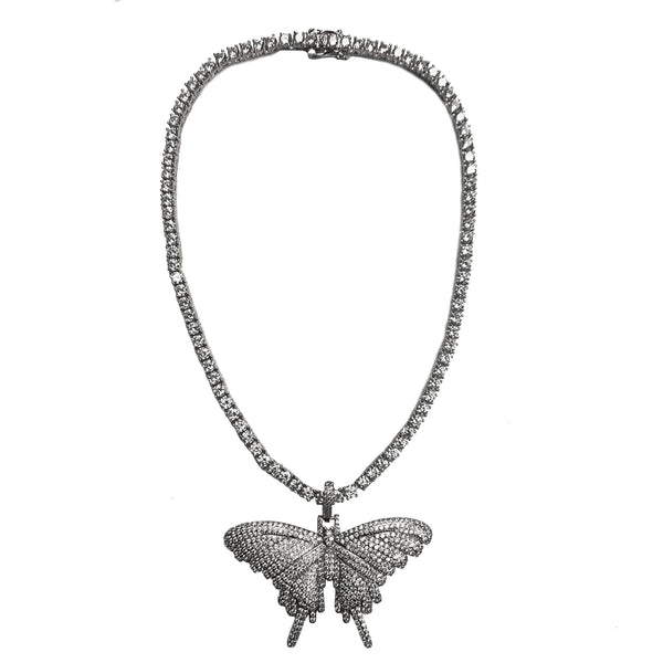 Silver Butterfly Tennis Chain - White Gold