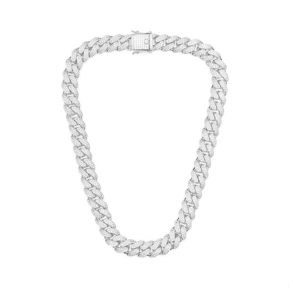 14mm Iced Out Cuban Chain - Rhodium