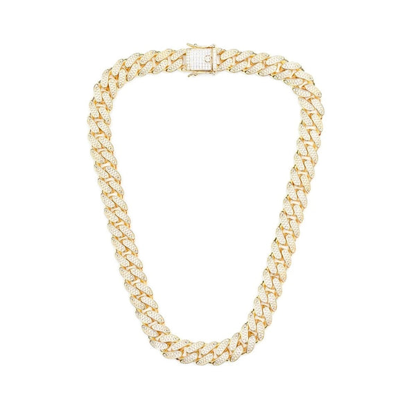 14mm Iced Out Cuban Chain - Gold