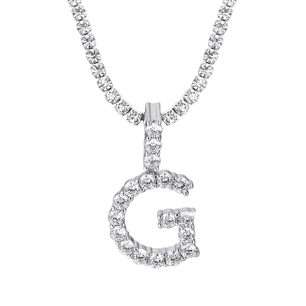 Initial Pendant Chain - White Gold