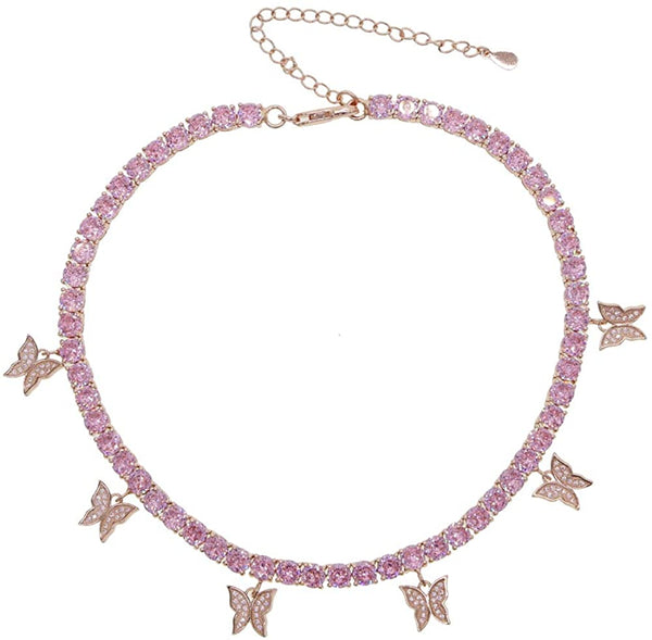 Butterfly Tennis Chain - Rose Gold