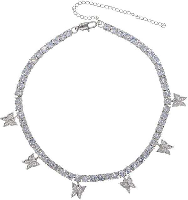 Butterfly Tennis Chain - White Gold