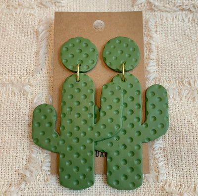 CLAY CACTUS EARRINGS GOLD