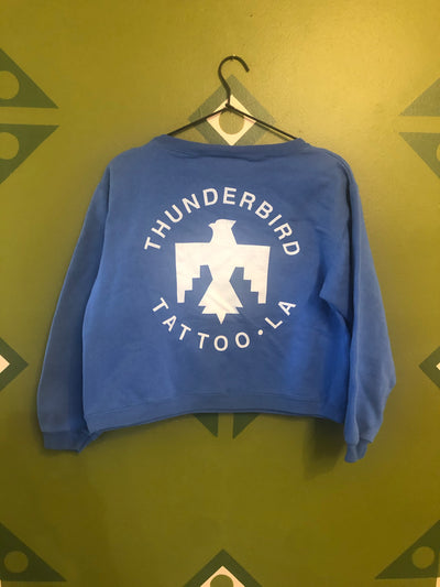 Vintage thunderbird sweatshirt crop small blue