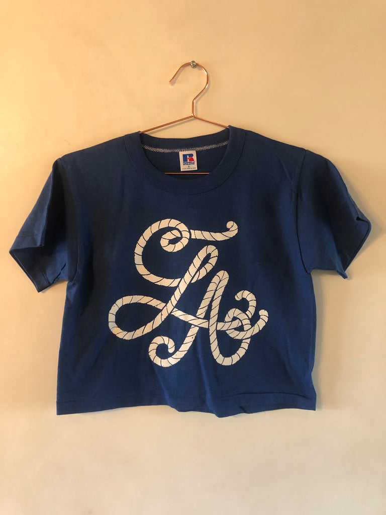 LA Vintage Russell athletic crop tops blue