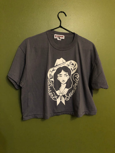 COWGIRL DS vintage grey crop tops