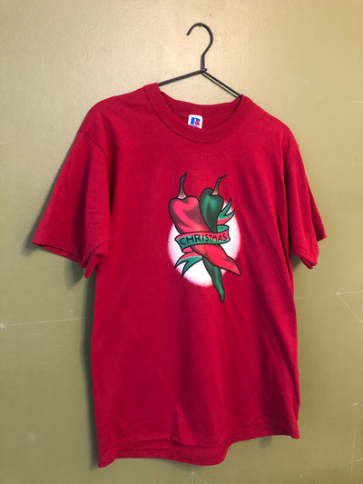 CHRISTMAS CHILE vintage Russell athletic dark red shirts medium
