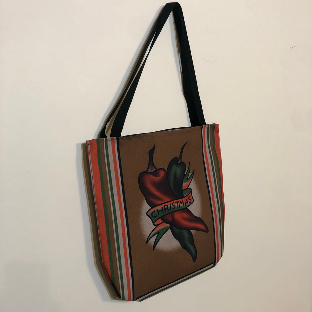 CHRISTMAS CHILE tote bags
