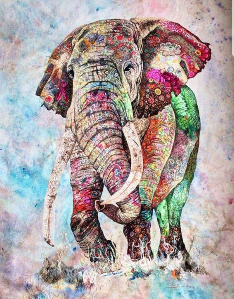 Animal Elephant Paint By Numbers Kits UK For Adult HQD1234
