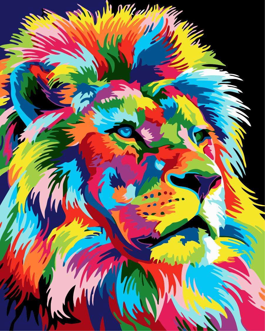 Animal Lion Paint By Numbers Kits UK For Adult HQD1242