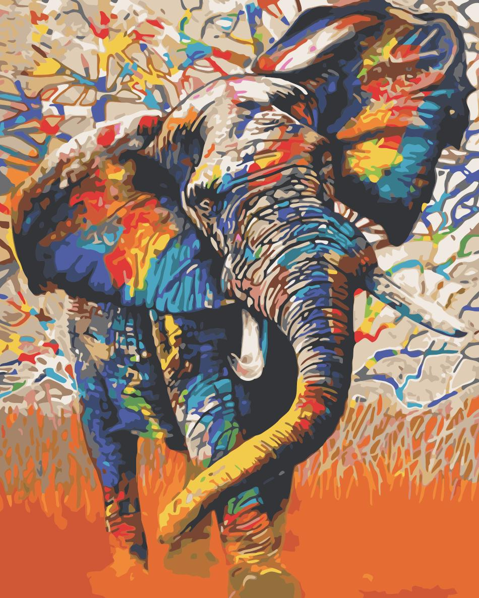 Animal Elephant Paint By Numbers Kits UK For Adult HQD1255