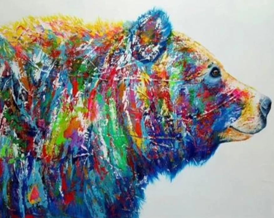 Animal Bear Paint By Numbers Kits UK For Adult HQD1261
