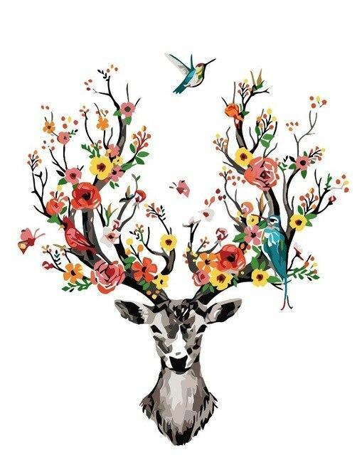 Animal Deer Paint By Numbers Kits UK For Adult HQD1263