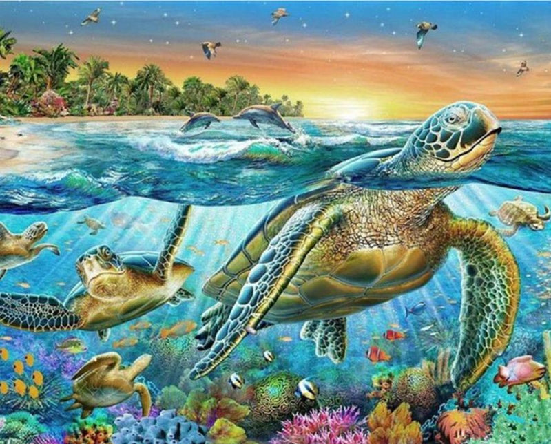 Animal Turtle Paint By Numbers Kits UK For Adult HQD1269