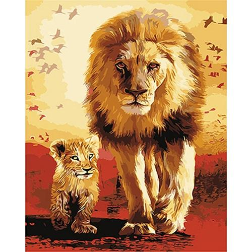 Animal Lion Paint By Numbers Kits UK For Adult PH9359