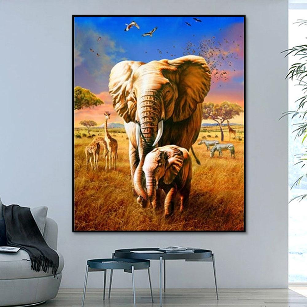 Animal Elephant Paint By Numbers Kits For Adult HQD1275