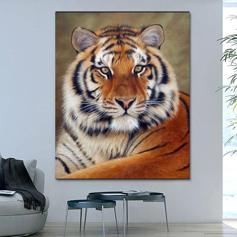 Animal Tiger Paint By Numbers Kits For Adult HQD1268