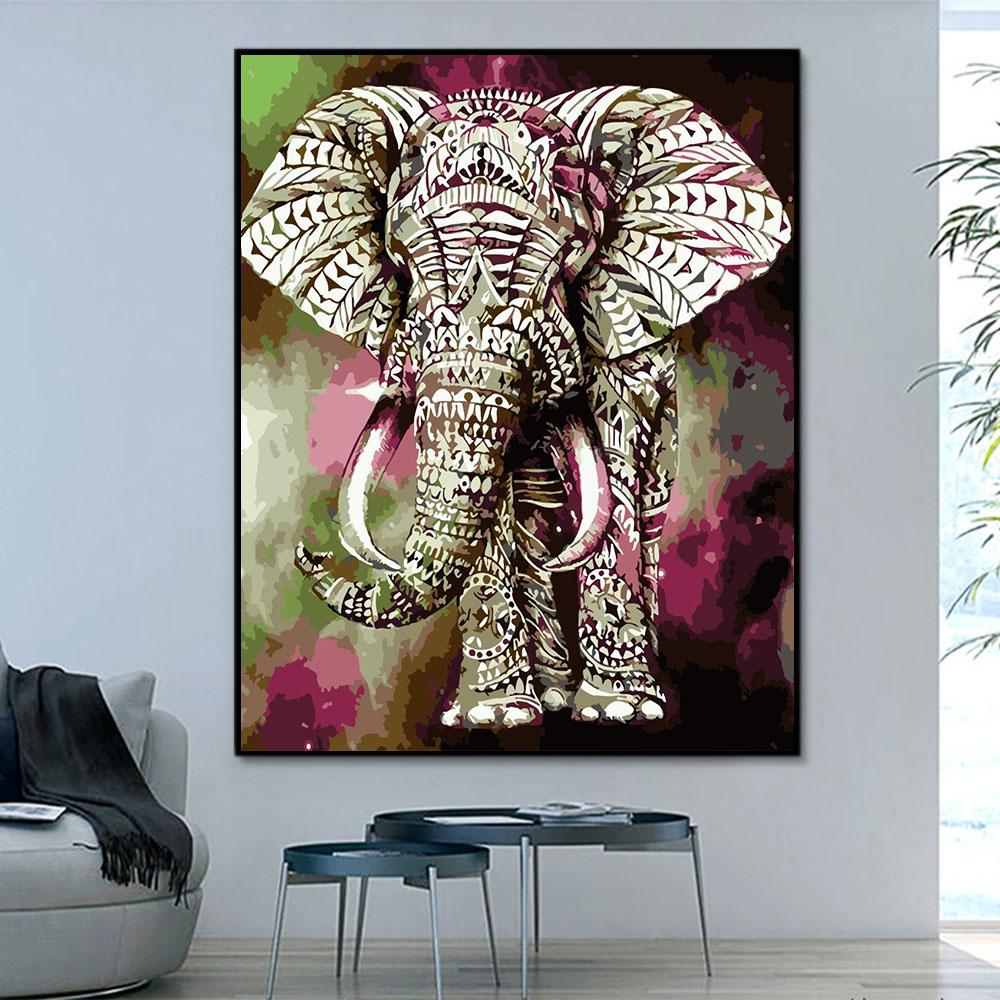 Animal Elephant Paint By Numbers Kits For Adult HQD1252
