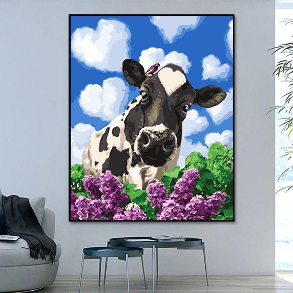 Animal Cow Paint By Numbers Kits For Adult HQD1248