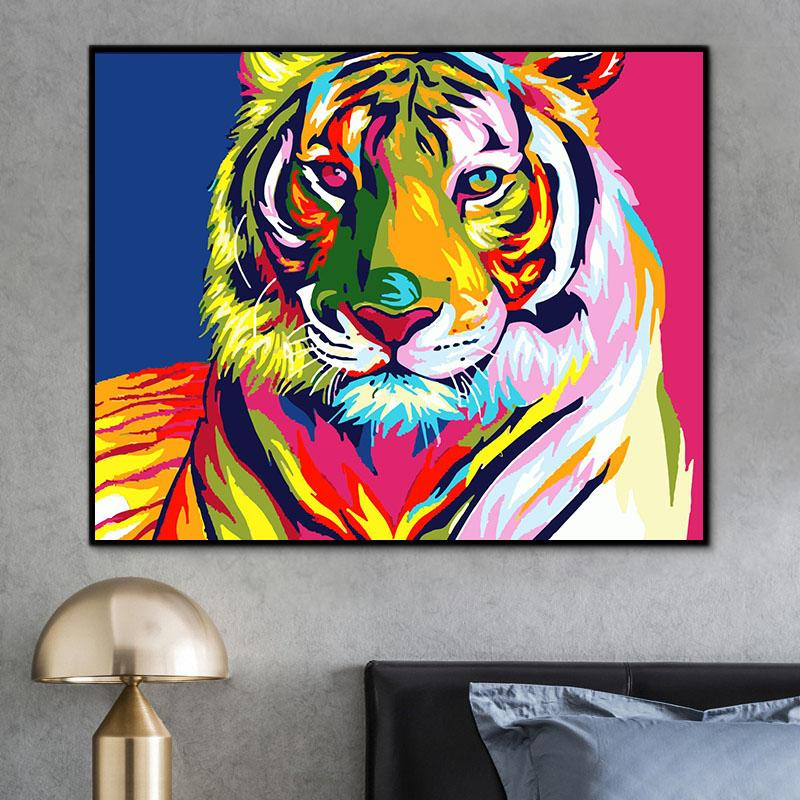 Animal Tiger Paint By Numbers Kits For Adult HQD1243
