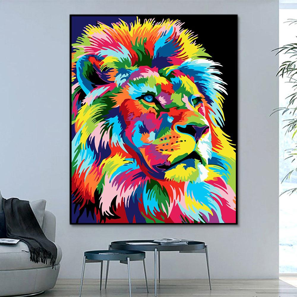 Animal Lion Paint By Numbers Kits For Adult HQD1242