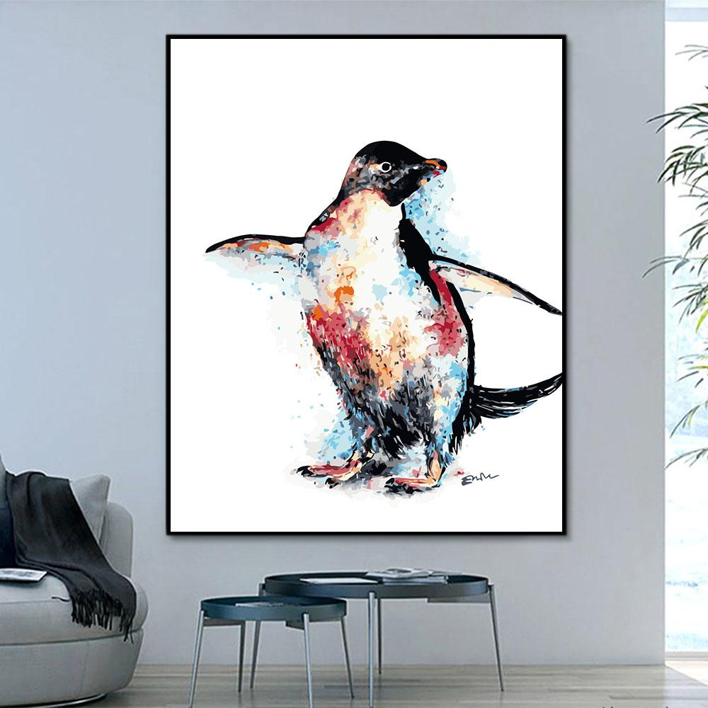 Animal Penguin Paint By Numbers Kits For Adult HQD1239