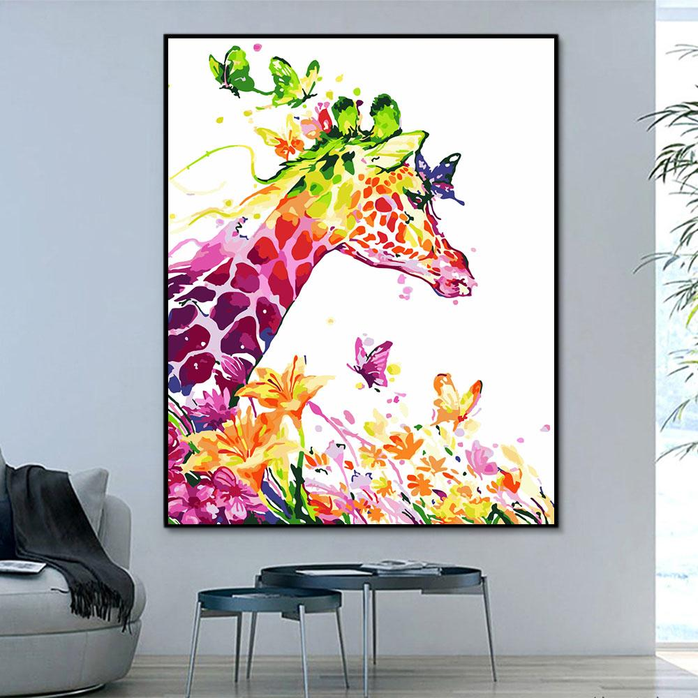 Animal Giraffe Paint By Numbers Kits For Adult HQD1237