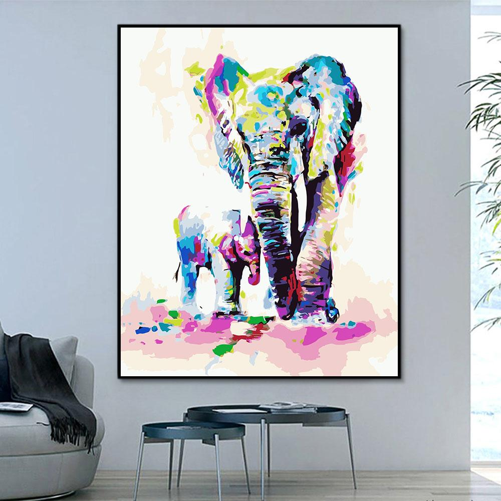 Elephant Paint By Numbers Kits For Adult HQD1349