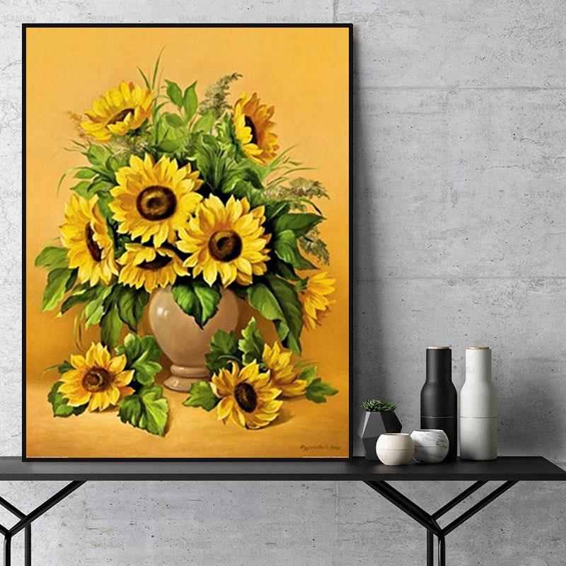 Flower Sunflower Paint By Numbers Kits For Adult Y5272