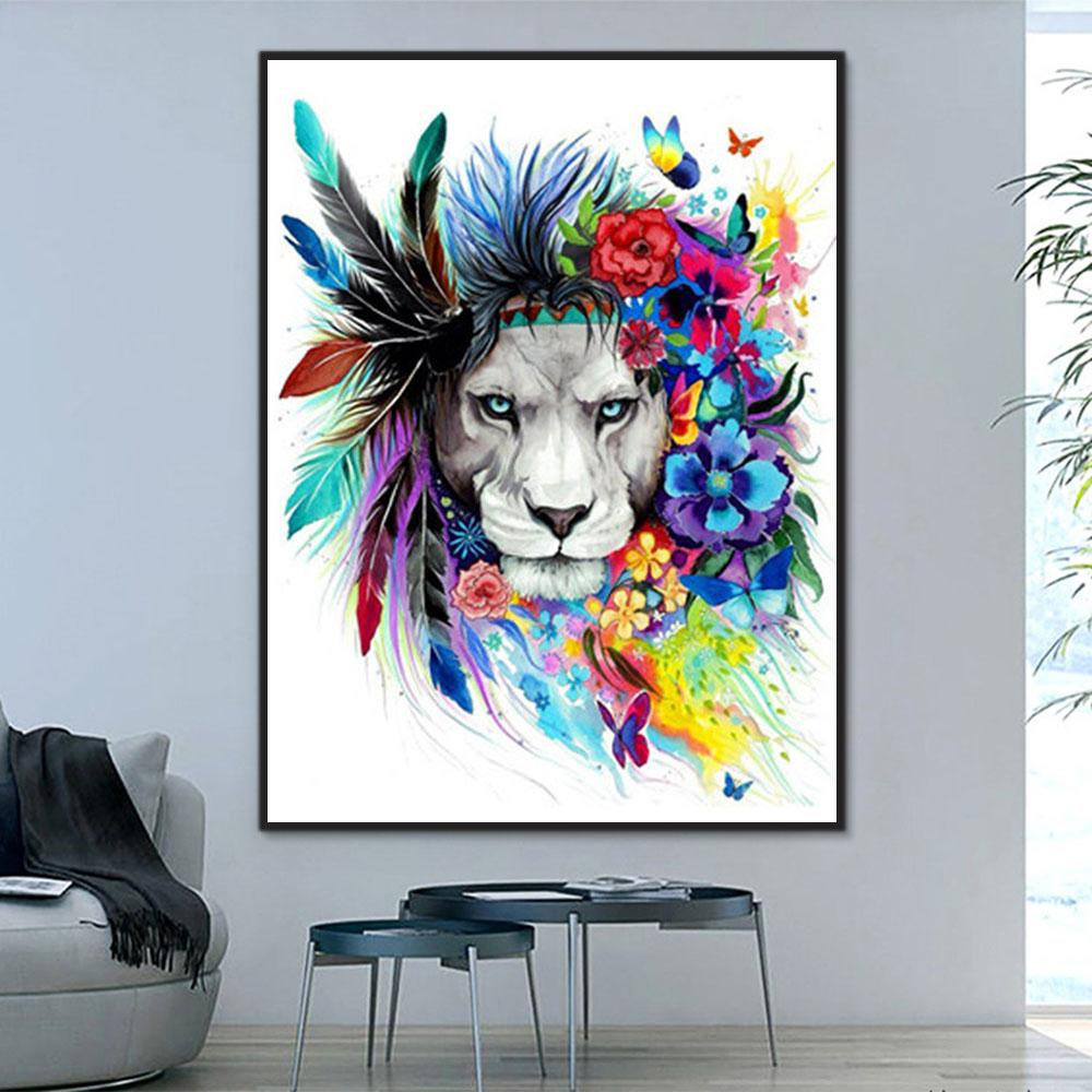 Animal Lion Paint By Numbers Kits For Adult Y5360