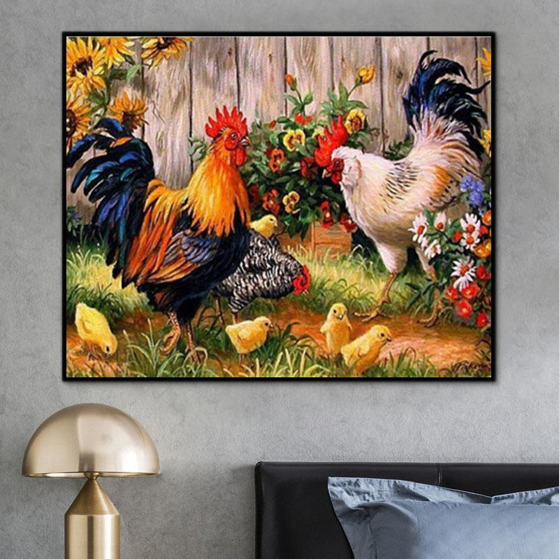 Animal Rooster Paint By Numbers Kits For Adult Y5523