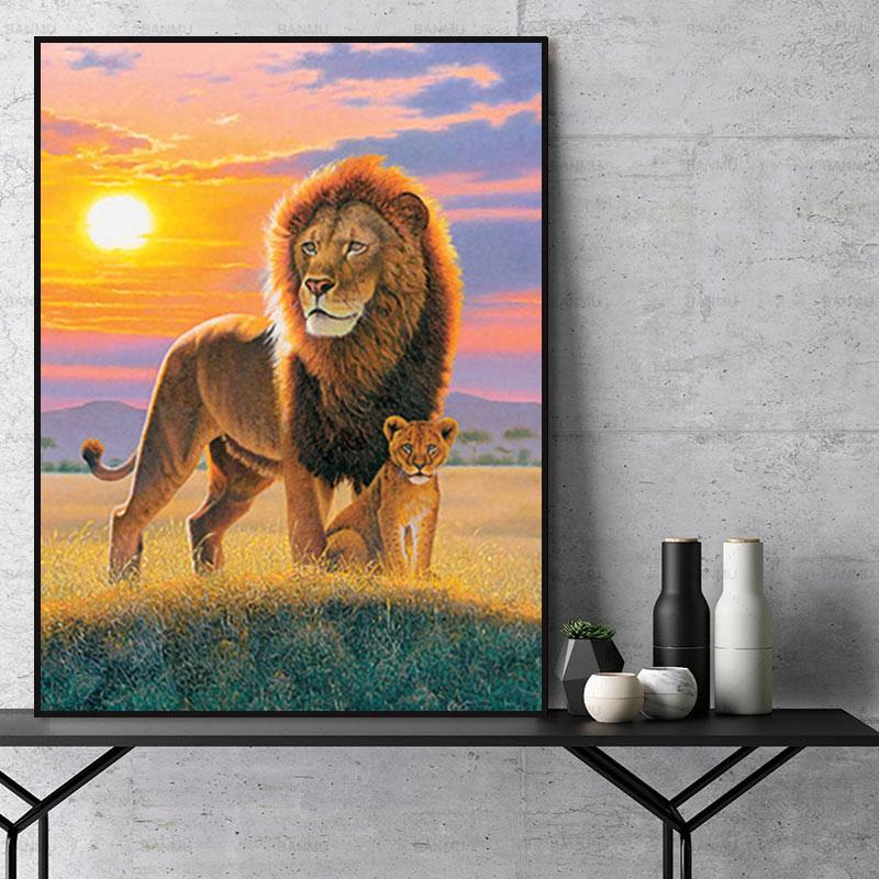 Animal Lion Paint By Numbers Kits For Adult Y5663