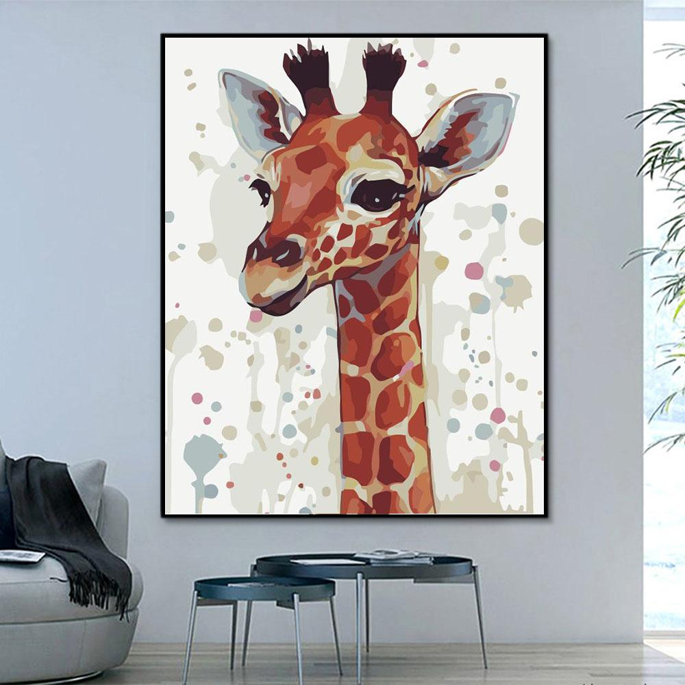 Animal Giraffe Paint By Numbers Kits For Adult HQD1235