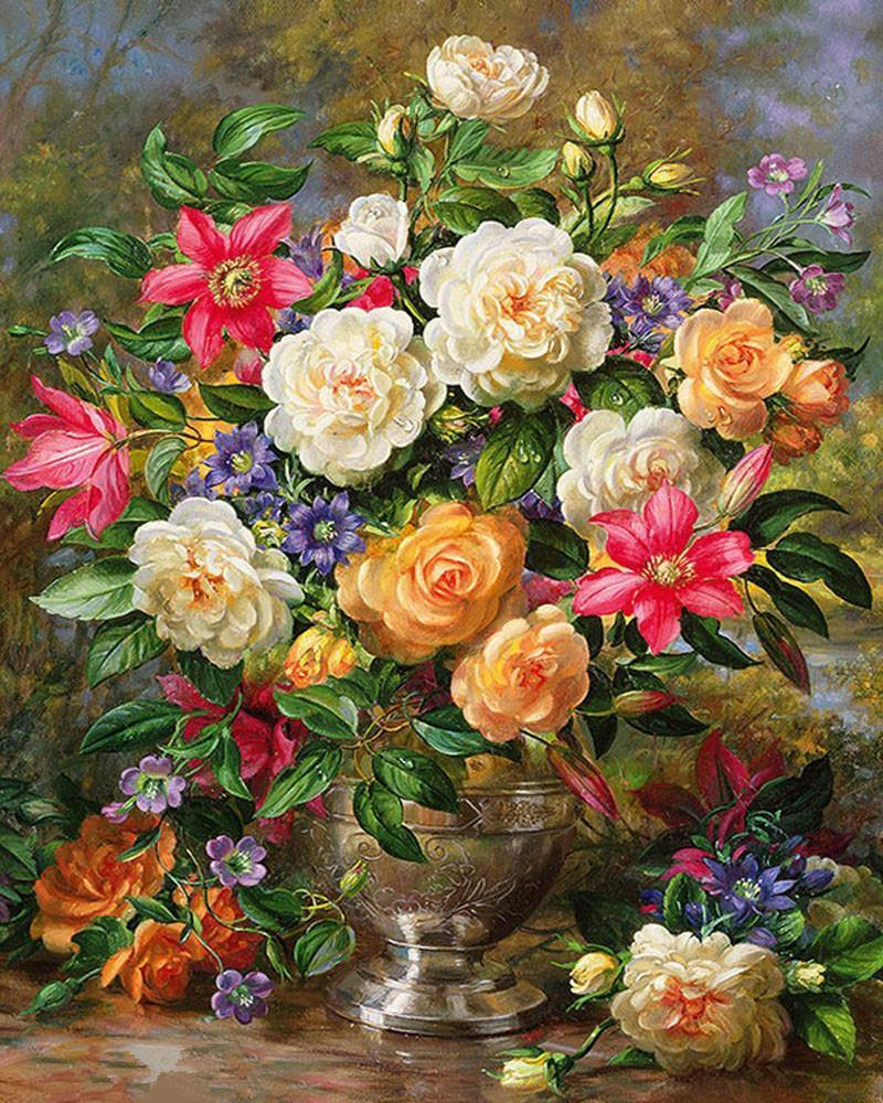 Flower Paint By Numbers Kits UK For Adult vm90039