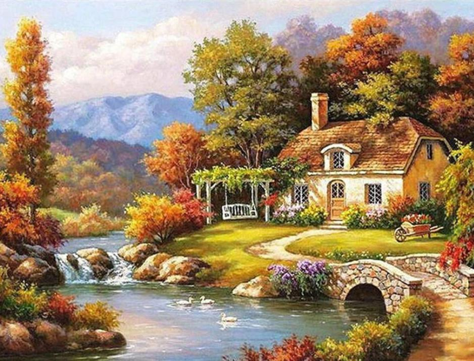 Landscape Paint By Numbers Kits UK For Adult vm91491