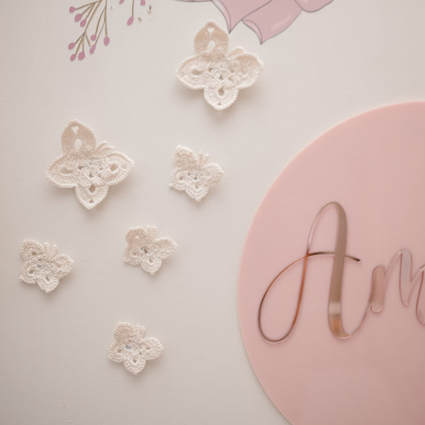 Butterfly wall decals - French white | Set of 6