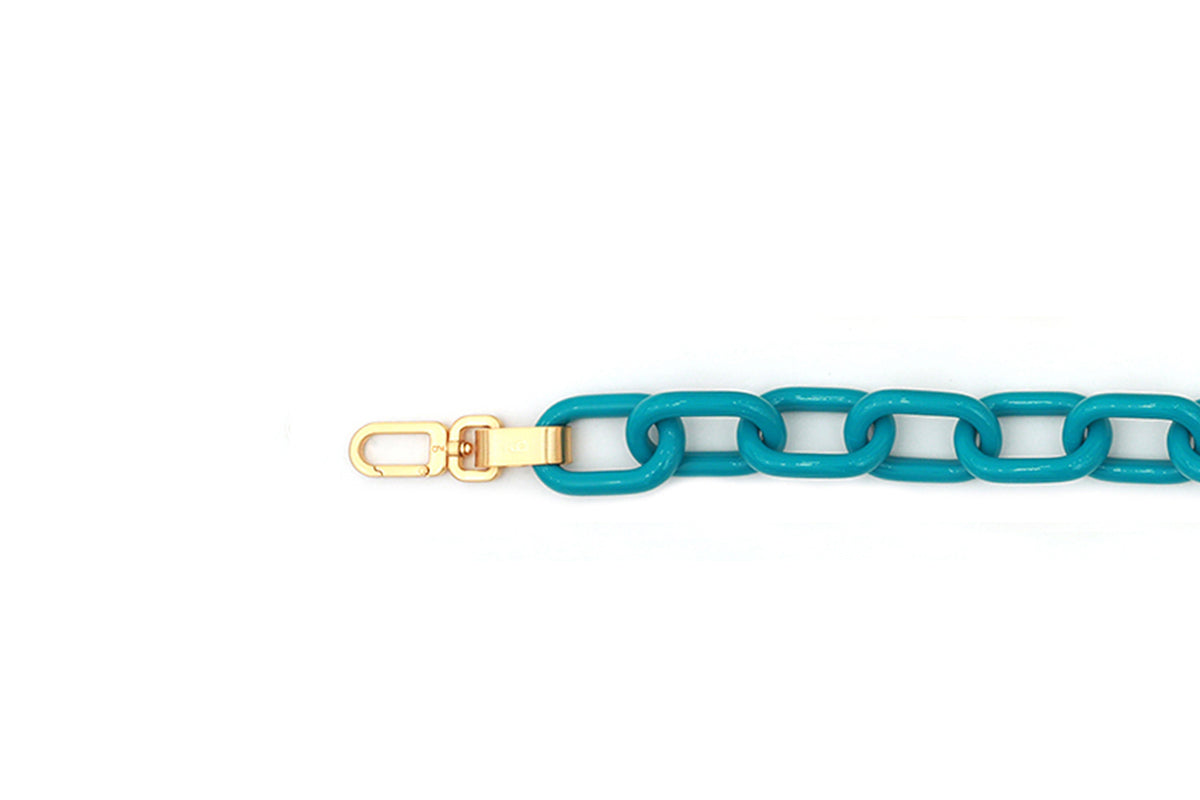 Aqua Candy Chain Strap with 24k Satin Gold Tone Metal