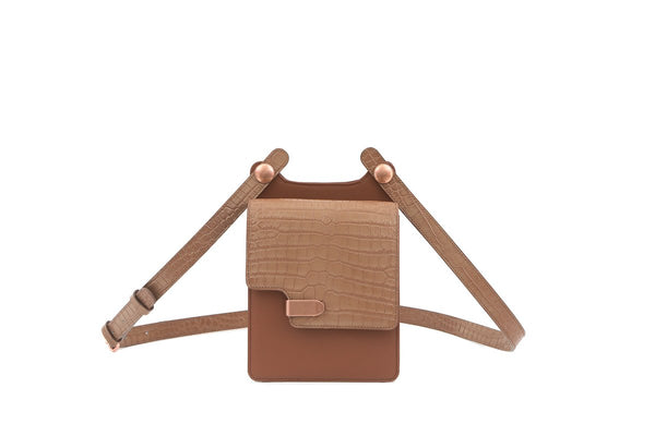 Louise Beige Croc-Embossed Cross Body Leather Bag