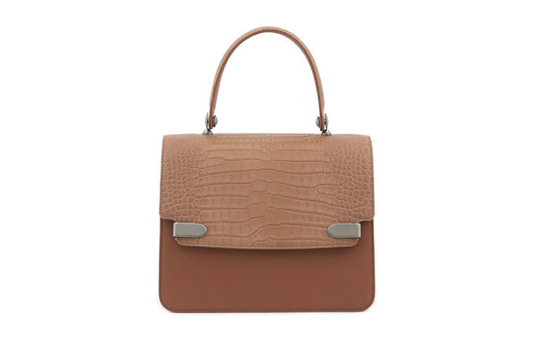 Delma Beige Croc-Embossed Leather Bag