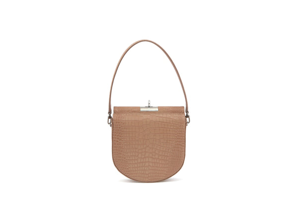 Demilune Beige Croc-Embossed Leather Bag - gu_de