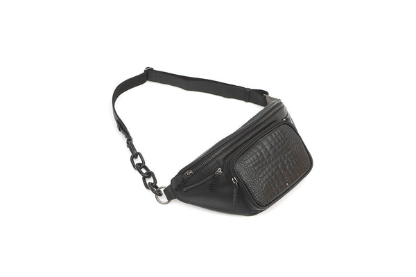 Mono Black Croc-Embossed Cross Body Bag