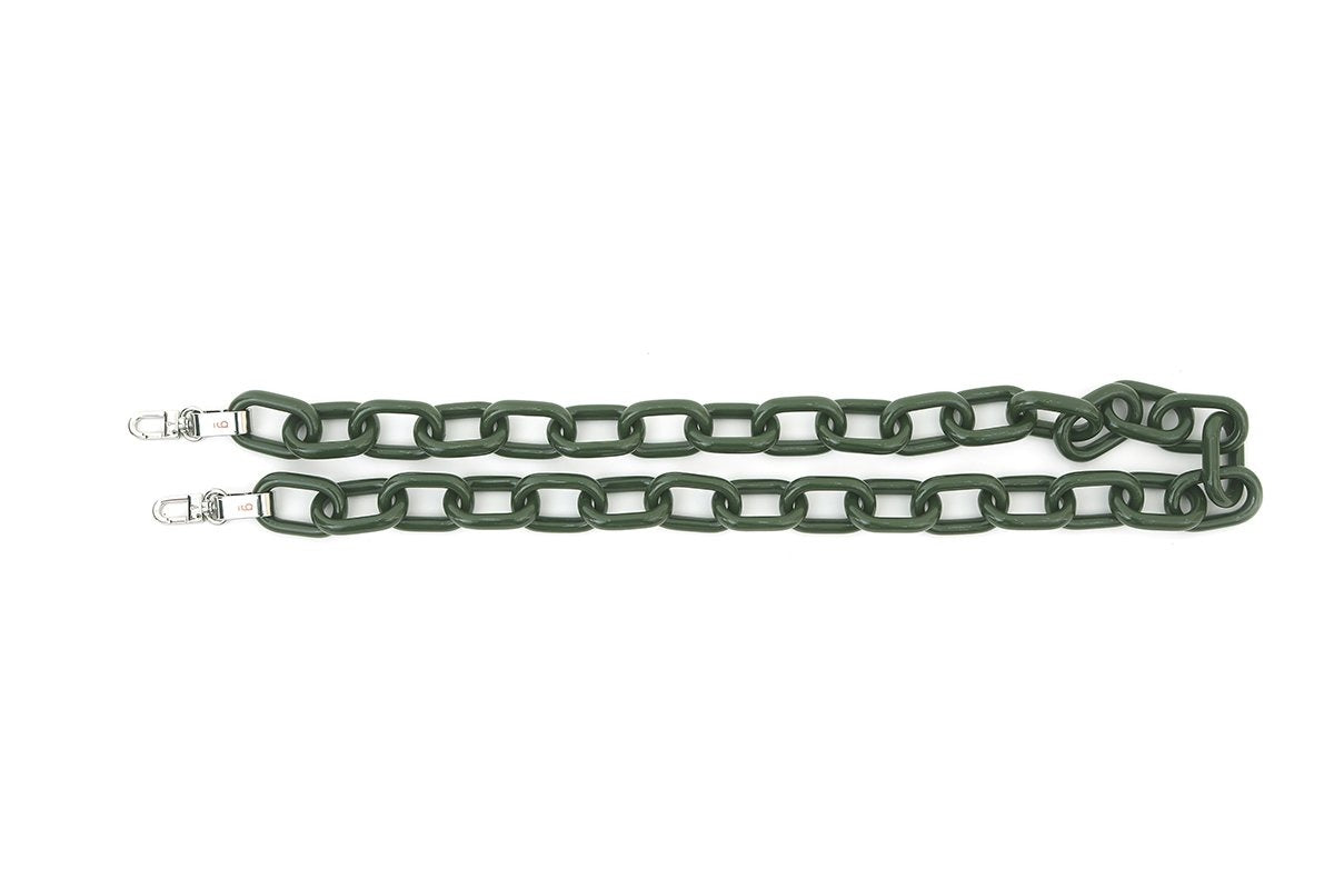 D-Green Candy Chain Strap with Silver Tone Metal