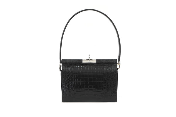 Gemma Black Croc Embossed Leather Bag